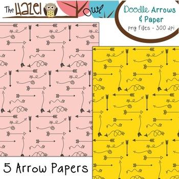 Doodle Arrows & Digital Paper Pack: Graphics for Teachers