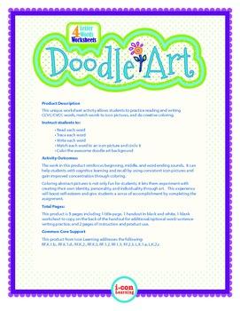Doodle Art 4 Letter Words Worksheet - Pac 2