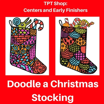 Doodled Christmas stocking by elementary students