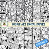 Doodle Art Patterns - Digital Paper to Color - Volume 2