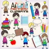 Kids Reading Books School Clipart