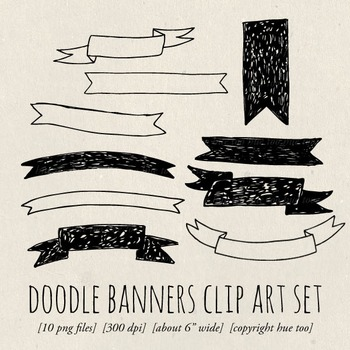 Doodle Banners Clip Art, Hand Drawn Ribbon Clip Art for TpT Sellers