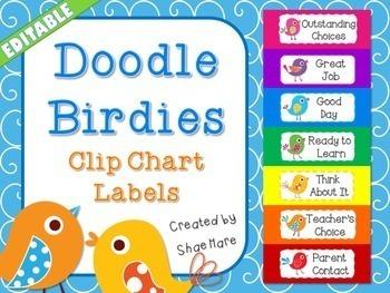 Doodle Boho Bird Clip Chart {EDITABLE} Positive Behavior Management [labels]