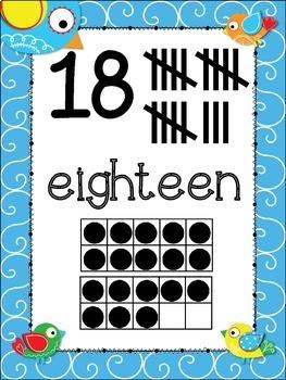 Doodle Boho Bird Number Posters {Math} Ten Frames {Number Concept} Anchor