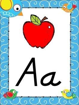 Doodle Boho Bird Themed Alphabet Posters DNealian Font {Handwriting}