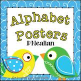 Boho Bird Themed Classroom Alphabet Posters DNealian Font {Handwriting}