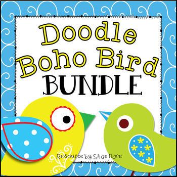 Doodle Boho Bird Themed Classroom Decor BUNDLE [Back to School]