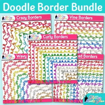 Doodle Border Clip Art Bundle | Rainbow Glitter Frames for Worksheets & Resource
