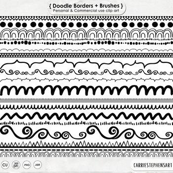 Doodle Borders ClipArt, Scallop, Swirls