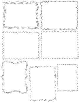Doodle Borders Clip Art Pack:  54 PNG Line Art Borders and Frames
