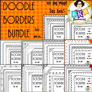 Doodle Borders/Frames BUNDLE Sets 1-10 {Graphics for Comme