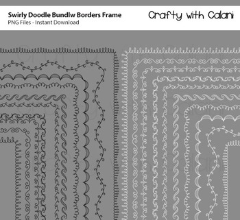 Doodle Borders Frames Bundle in Black and White for Commercial Use