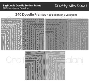 Doodle Borders Frames Big Bundle - 240 frames for Commercial Use