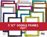 Doodle Borders Frames ClipArt - Hand Drawn 5x7 Frames