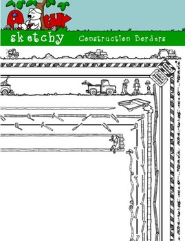 Doodle Borders / Frames Construction Themed