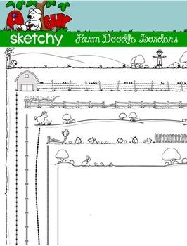 doodle borders frames farm theme by a sketchy guy tpt