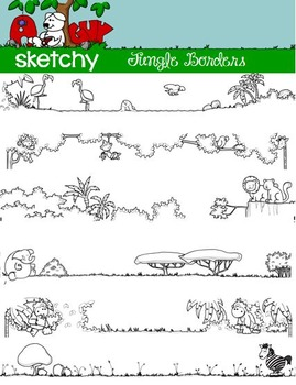 doodle borders frames jungle theme by a sketchy guy tpt