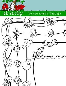 Doodle Borders / Frames Ocean Theme