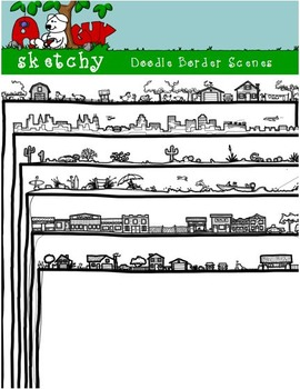 Doodle Borders / Frames Scenes - Hand Drawn / Freehand 300dpi White  Transparent