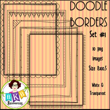 Doodle Borders/Frames Set 1 {Graphics for Commercial Use}