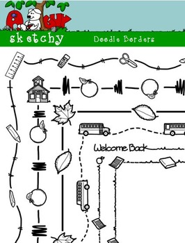 Doodle Borders / Back to School Theme/ Fall - Hand Drawn / Freehand 300dpi