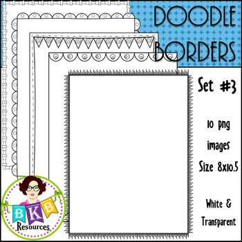 Doodle Borders/Frames Set #3 {Graphics for Commercial Use}