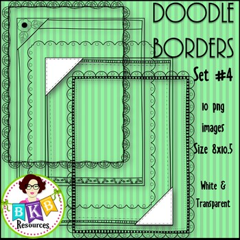 Doodle Borders/Frames Set #4 {Graphics for Commercial Use}