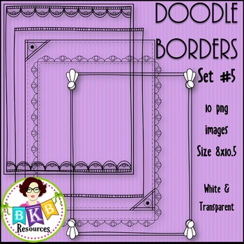 Doodle Borders/Frames Set #5 {Graphics for Commercial Use}