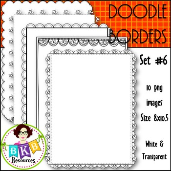 Doodle Borders/Frames Set #6 {Graphics for Commercial Use}