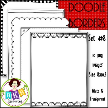 Doodle Borders/Frames Set #8 {Graphics for Commercial Use}