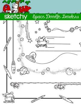 Doodle Borders / Frames Space Theme