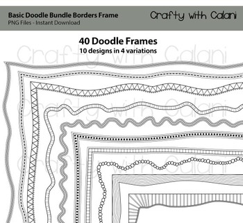 Doodle Borders Frames in Basic shape and black color for C