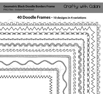 Doodle Borders Frames in geometric shape and black color for Commercial Use
