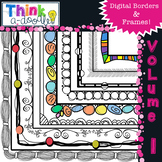 Digital Doodle Borders and Frames, black and white, color