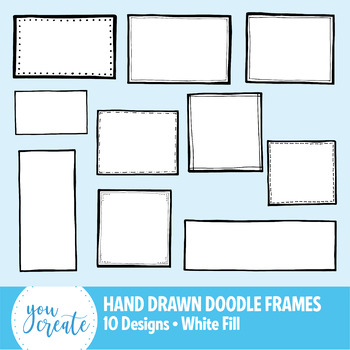 Doodle Frames Clip Art | Hand Drawn Boxes | 10 Designs