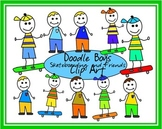 Doodle Boys with Skateboards and Friends Clip Art