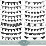 Doodle Bunting Clipart Digital Flags Bunting Clip Art Party Garland Clipart