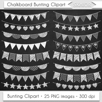White Bunting Clipart Digital Flags Chalkboard Bunting Clip Art Party Scrapbook