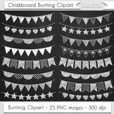 White Bunting Clipart Digital Flags Chalkboard Bunting Cli