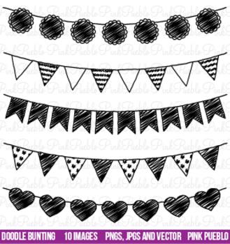 Doodle Bunting Flag Clipart Clip Art