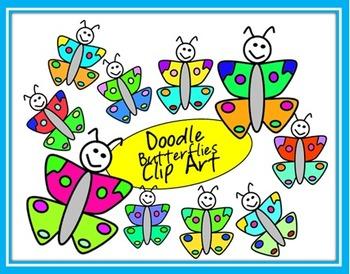 Doodle Butterflies Clip Art