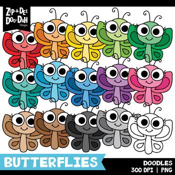 FREE Doodle Butterflies Clipart Set {Zip-A-Dee-Doo-Dah Designs}