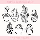 Doodle Cactus Clip Art Set