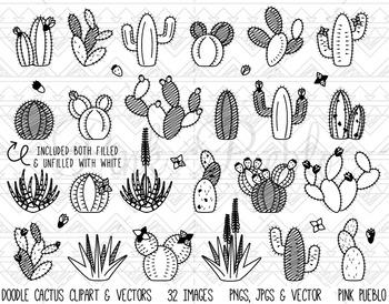 Doodle Cactus Clipart Clip Art, Cactus Digital Stamps, Suc