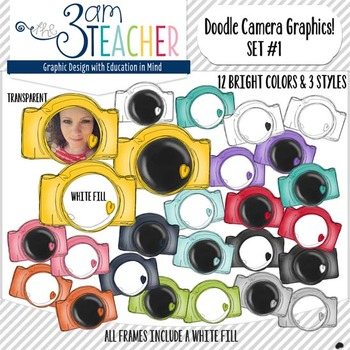 Doodle Cameras with Hearts Clipart Set #1!!!