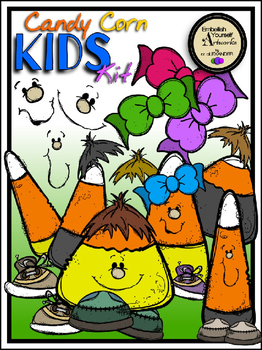 Candy Corn Kids Clipart Kit