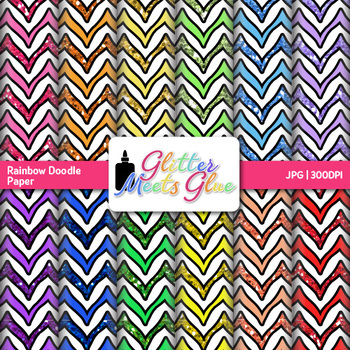 Rainbow Doodle Chevron Paper {Scrapbook Backgrounds for Ta