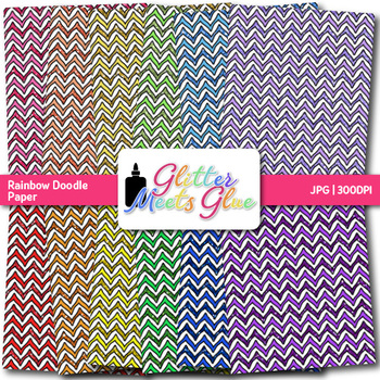 Rainbow Doodle Paper {Scrapbook Backgrounds for Task Cards & Brag Tags}