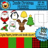 Doodle Christmas Clip Art FREEBIE- 1000 followers celebration!