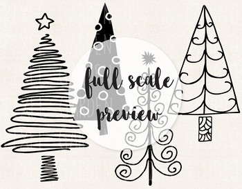 Christmas Tree Illustration.Doodle Christmas Tree Clip Art Hand Drawn Fir Pine Trees Illustrations